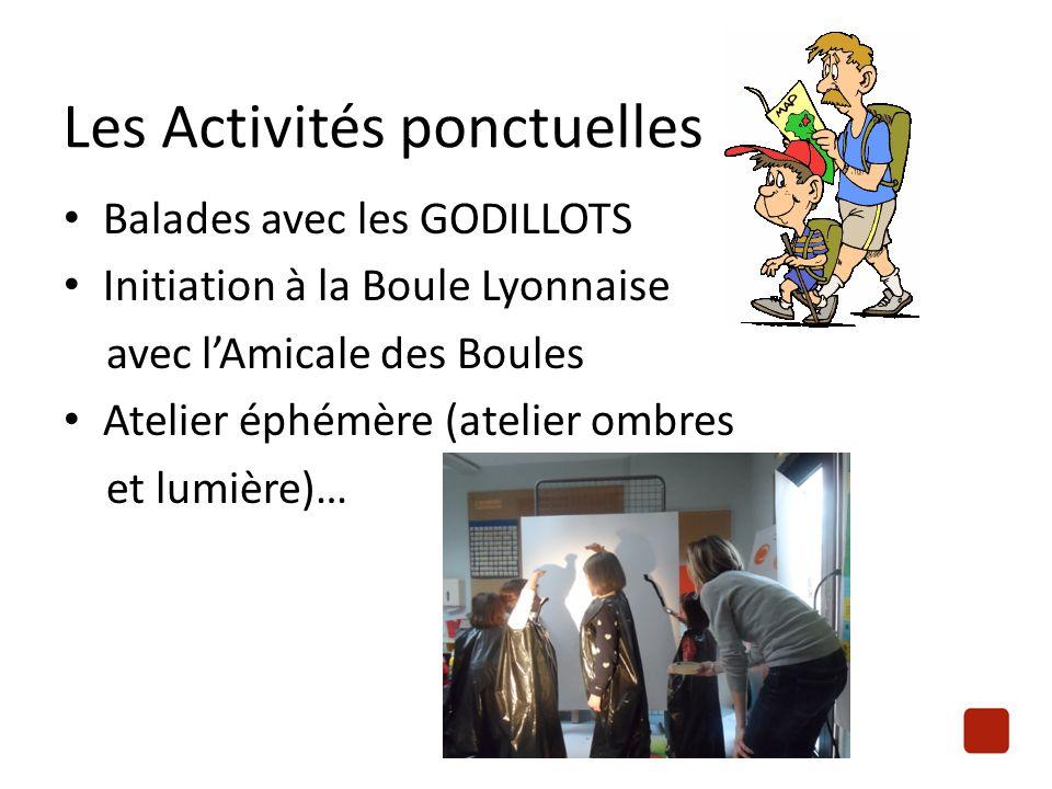Balades avec les GODILLOTS Initiation à la Boule Lyonnaise avec l'Amicale des Boules Atelier éphémère (atelier ombres et lumière)… Les Activités ponct