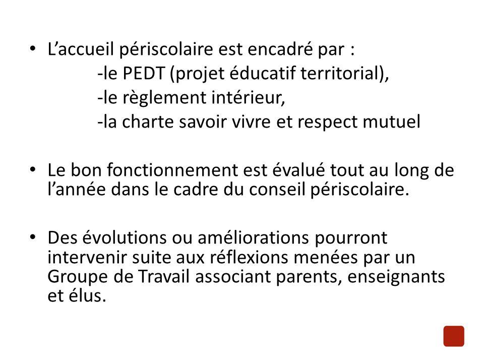 L'accueil périscolaire est encadré par : -le PEDT (projet éducatif territorial), -le règlement intérieur, -la charte savoir vivre et respect mutuel Le