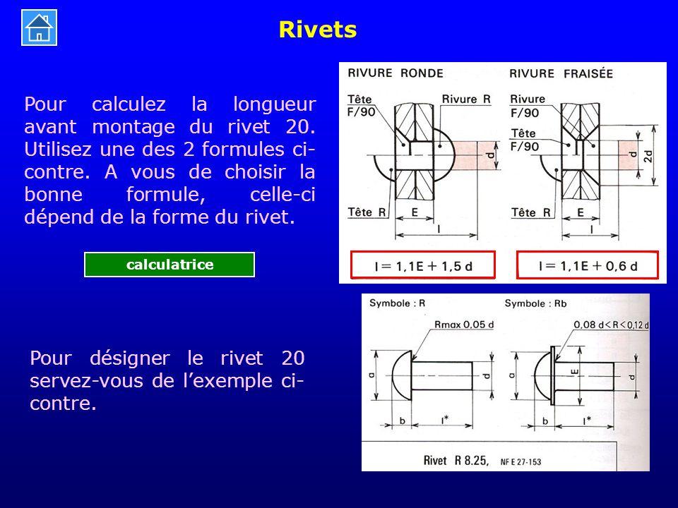 Rivets Pour calculez la longueur avant montage du rivet 20. Utilisez une des 2 formules ci- contre. A vous de choisir la bonne formule, celle-ci dépen
