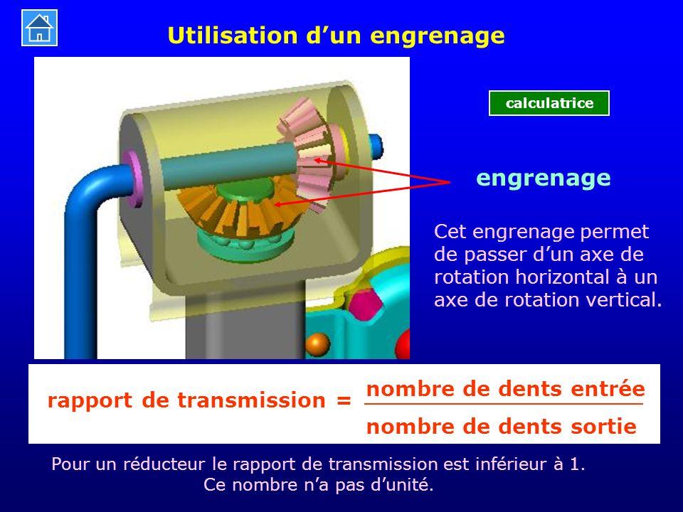 Utilisation d'un engrenage engrenage nombre de dents entrée nombre de dents sortie rapport de transmission = Pour un réducteur le rapport de transmiss