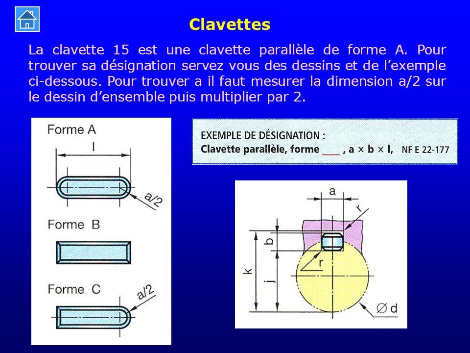 Clavettes La clavette 15 est une clavette parallèle de forme A. Pour trouver sa désignation servez vous des dessins et de l'exemple ci-dessous. Pour t