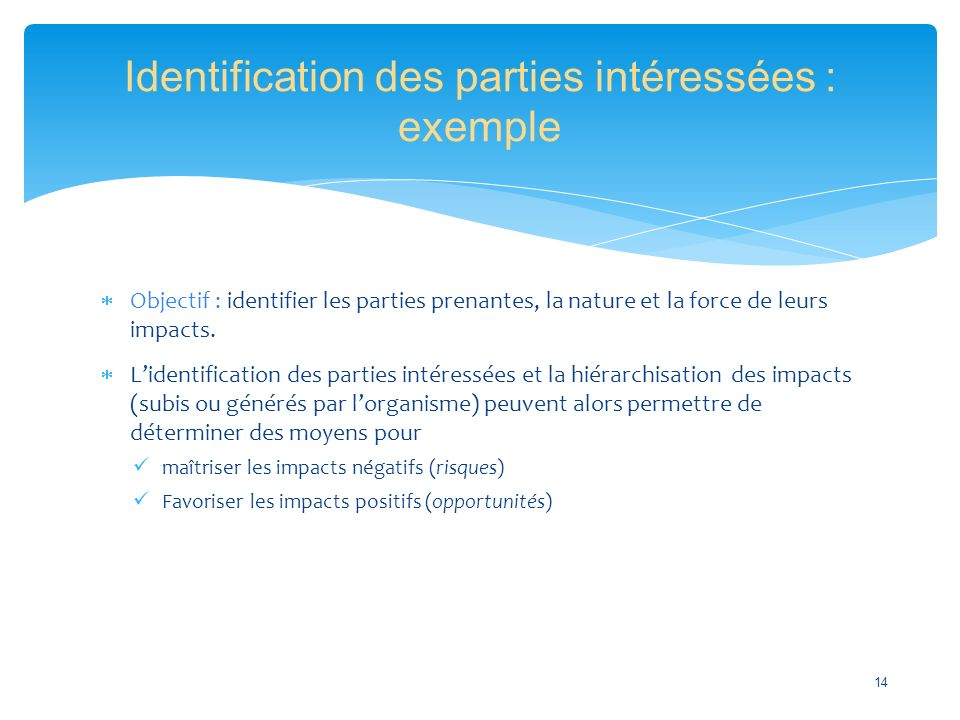  Objectif : identifier les parties prenantes, la nature et la force de leurs impacts.