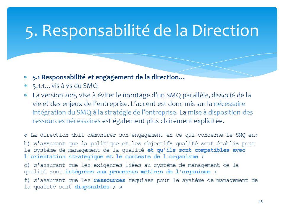 5. Responsabilité de la Direction  5.1 Responsabilité et engagement de la direction…  5.1.1…vis à vs du SMQ  La version 2015 vise à éviter le monta