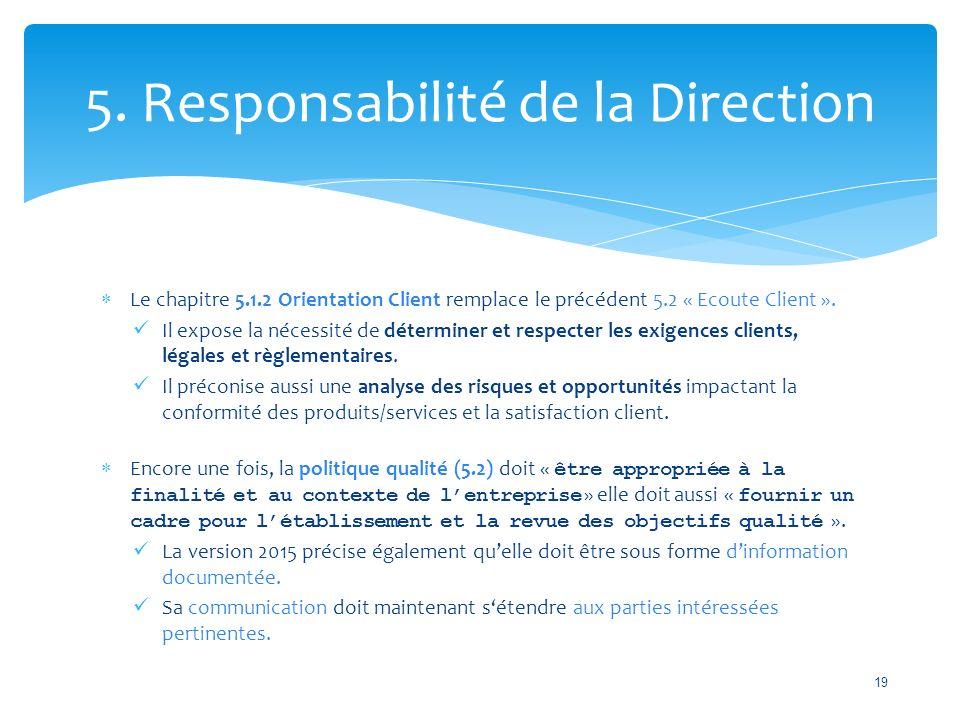 5. Responsabilité de la Direction  Le chapitre 5.1.2 Orientation Client remplace le précédent 5.2 « Ecoute Client ». Il expose la nécessité de déterm