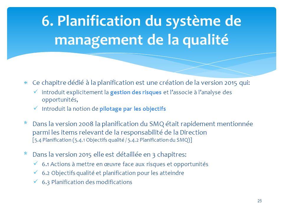 6. Planification du système de management de la qualité  Ce chapitre dédié à la planification est une création de la version 2015 qui: introduit expl
