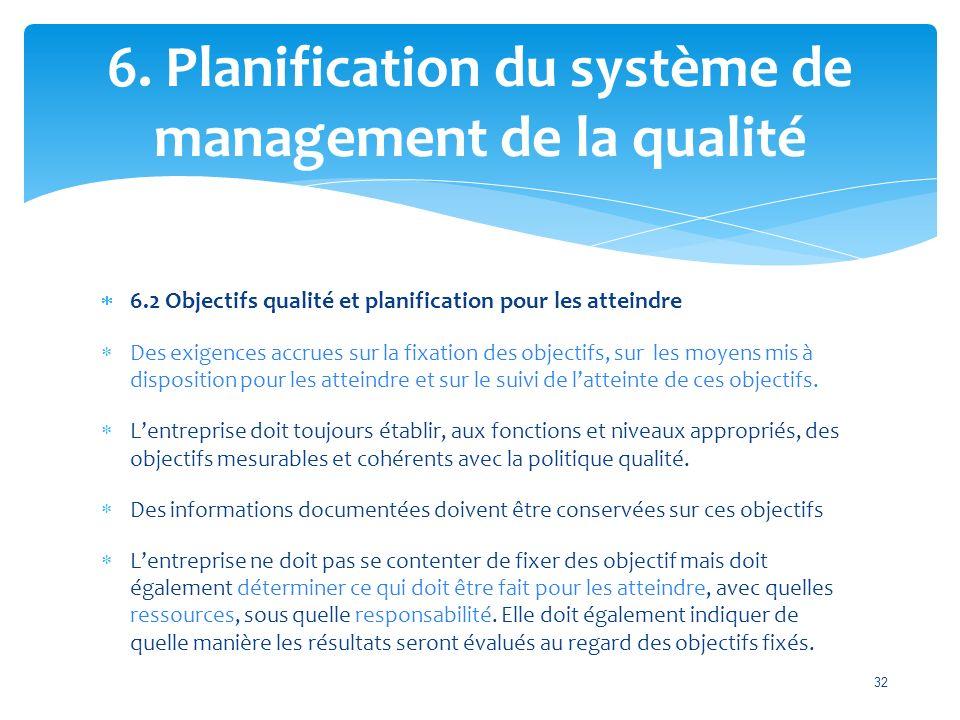  6.2 Objectifs qualité et planification pour les atteindre  Des exigences accrues sur la fixation des objectifs, sur les moyens mis à disposition pour les atteindre et sur le suivi de l'atteinte de ces objectifs.