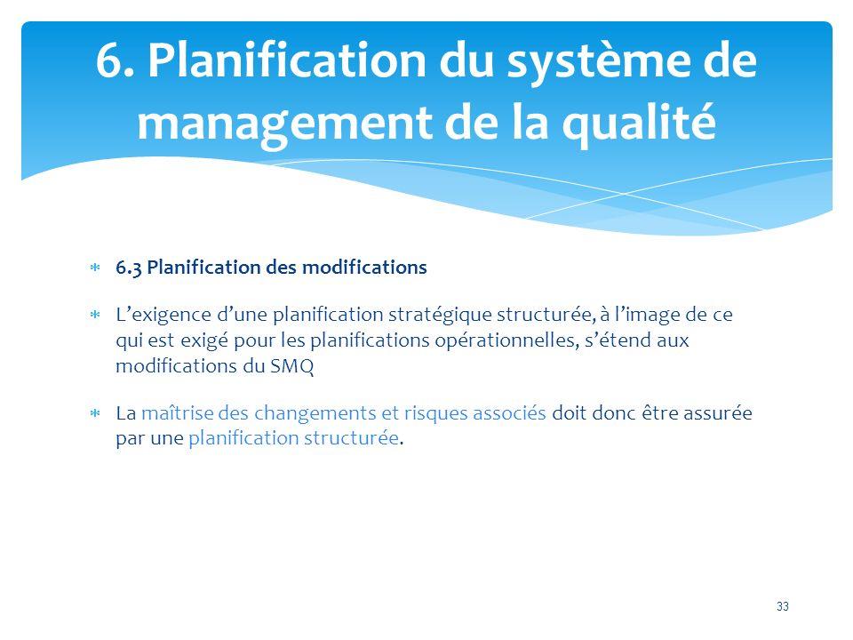  6.3 Planification des modifications  L'exigence d'une planification stratégique structurée, à l'image de ce qui est exigé pour les planifications opérationnelles, s'étend aux modifications du SMQ  La maîtrise des changements et risques associés doit donc être assurée par une planification structurée.