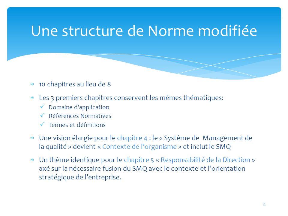  10 chapitres au lieu de 8  Les 3 premiers chapitres conservent les mêmes thématiques: Domaine d'application Références Normatives Termes et définitions  Une vision élargie pour le chapitre 4 : le « Système de Management de la qualité » devient « Contexte de l'organisme » et inclut le SMQ  Un thème identique pour le chapitre 5 « Responsabilité de la Direction » axé sur la nécessaire fusion du SMQ avec le contexte et l'orientation stratégique de l'entreprise.