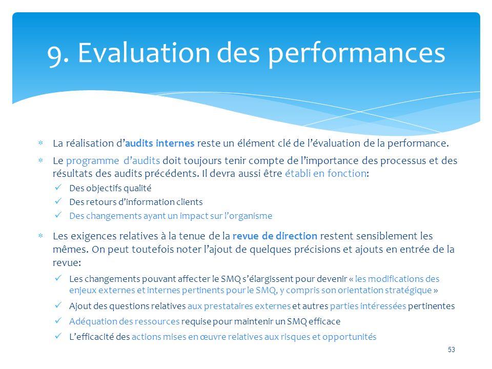  La réalisation d'audits internes reste un élément clé de l'évaluation de la performance.