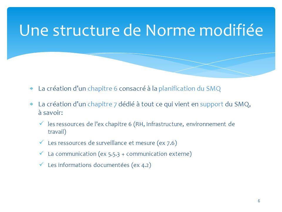  La création d'un chapitre 6 consacré à la planification du SMQ  La création d'un chapitre 7 dédié à tout ce qui vient en support du SMQ, à savoir: les ressources de l'ex chapitre 6 (RH, Infrastructure, environnement de travail) Les ressources de surveillance et mesure (ex 7.6) La communication (ex 5.5.3 + communication externe) Les informations documentées (ex 4.2) Une structure de Norme modifiée 6