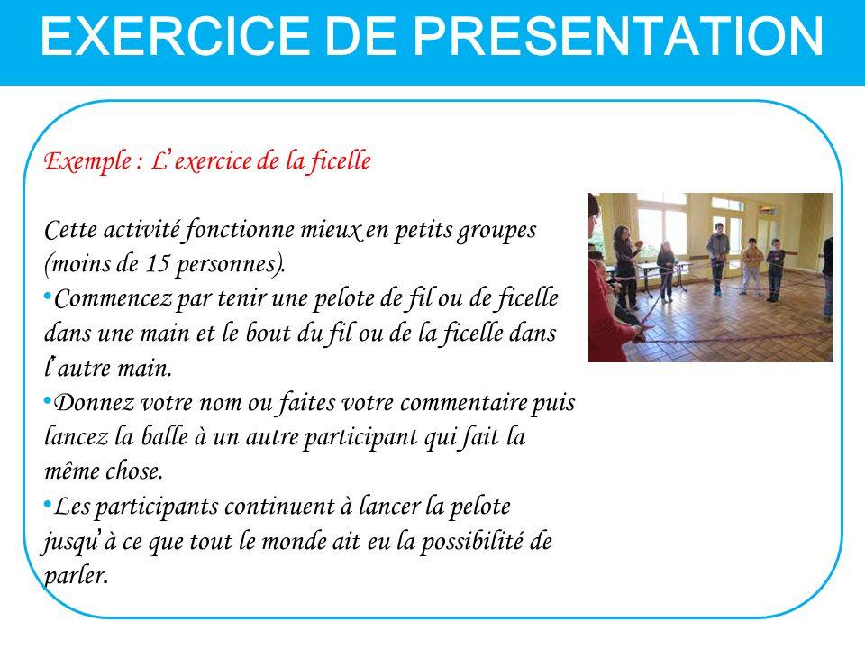 EXERCICE DE PRESENTATION Exemple : L'exercice de la ficelle Cette activité fonctionne mieux en petits groupes (moins de 15 personnes).