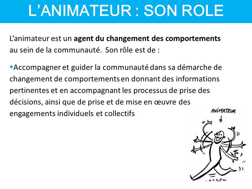 L'ANIMATEUR : SON ROLE L'animateur est un agent du changement des comportements au sein de la communauté.