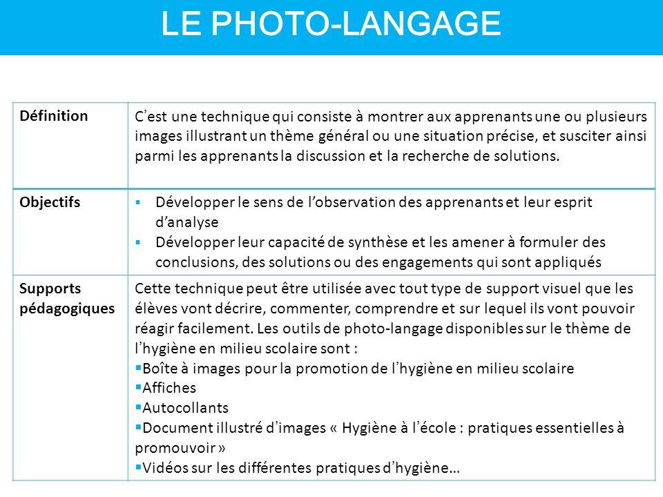 LE PHOTO-LANGAGE DéfinitionC'est une technique qui consiste à montrer aux apprenants une ou plusieurs images illustrant un thème général ou une situation précise, et susciter ainsi parmi les apprenants la discussion et la recherche de solutions.