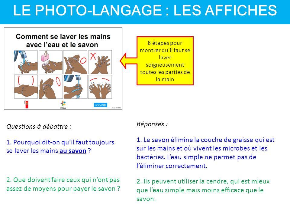 LE PHOTO-LANGAGE : LES AFFICHES 8 étapes pour montrer qu'il faut se laver soigneusement toutes les parties de la main Questions à débattre : 1.