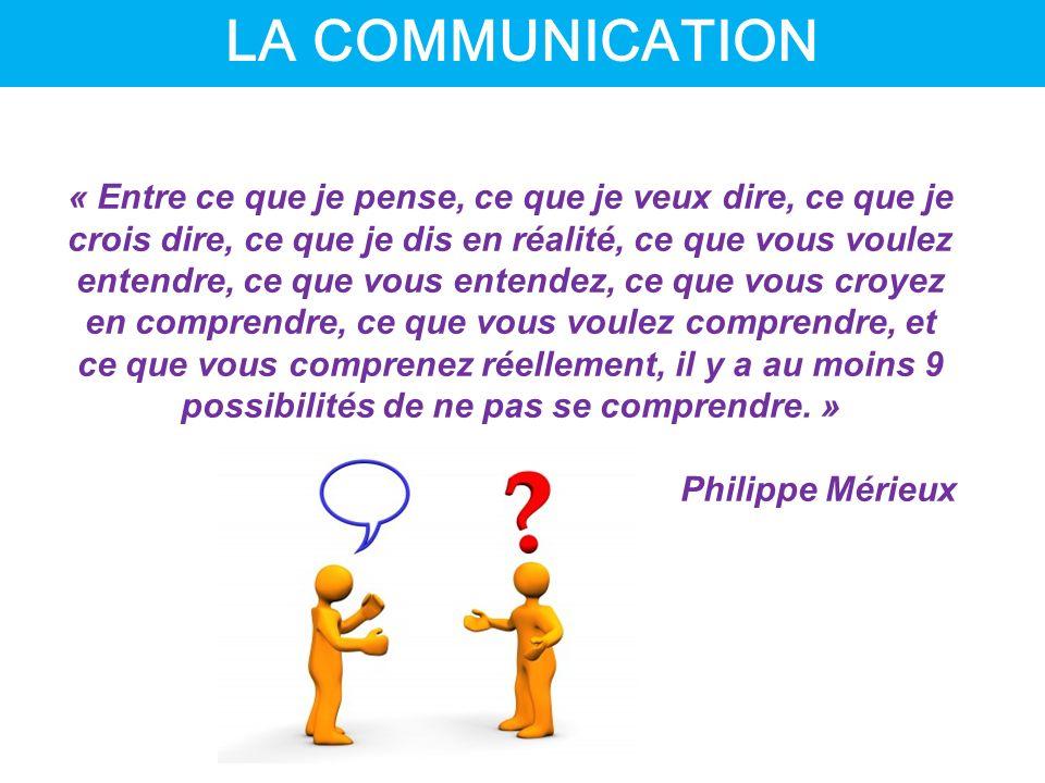 LA FACON DONT LE MESSAGE EST DONNE A UNE INFLUENCE SUR LA FACON DONT LE MESSAGE EST RECU LA VRAIE COMMUNICATION EST LE MESSAGE RECU, ET NON PAS LE MESSAGE ENVOYE LA COMMUNICATION EST TOUJOURS UNE INTERACTION LA COMMUNICATION ON NE PEUT PAS NE PAS COMMUNIQUER !