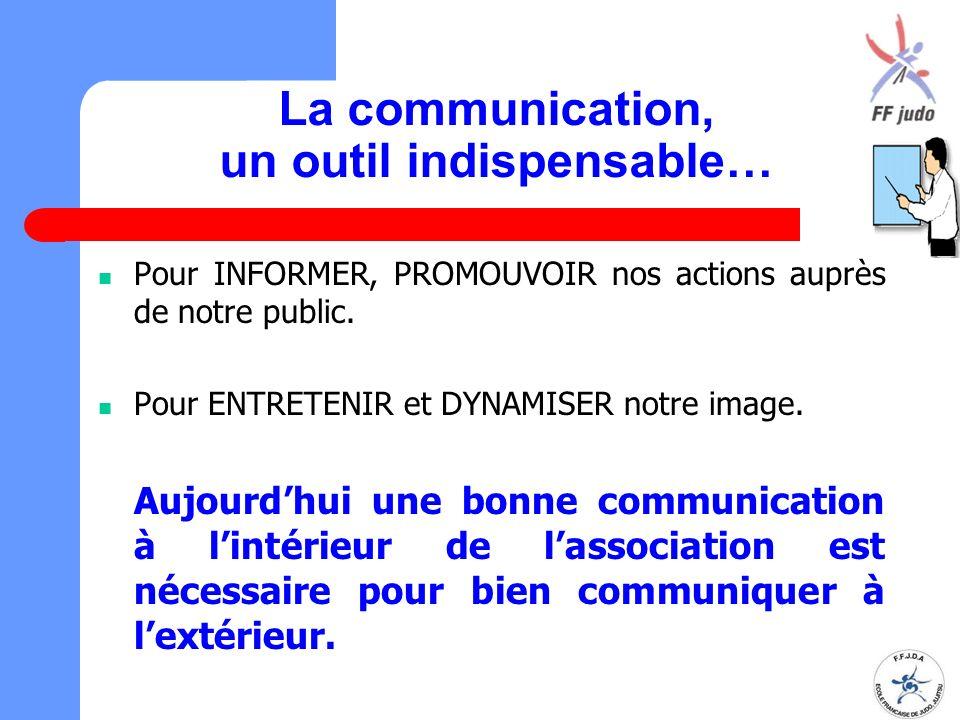 La communication, un outil indispensable… Pour INFORMER, PROMOUVOIR nos actions auprès de notre public. Pour ENTRETENIR et DYNAMISER notre image. Aujo