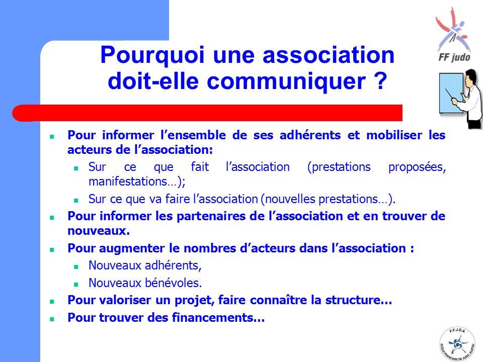 Pourquoi une association doit-elle communiquer ? Pour informer l'ensemble de ses adhérents et mobiliser les acteurs de l'association: Sur ce que fait