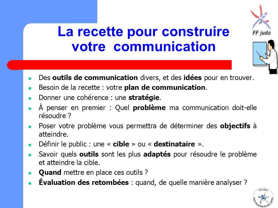 La recette pour construire votre communication Des outils de communication divers, et des idées pour en trouver. Besoin de la recette : votre plan de