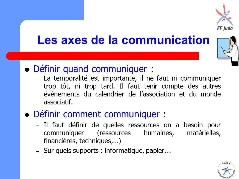 Les axes de la communication Définir quand communiquer : – La temporalité est importante, il ne faut ni communiquer trop tôt, ni trop tard. Il faut te