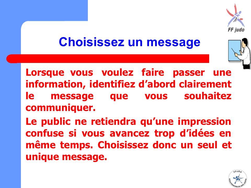 Choisissez un message Lorsque vous voulez faire passer une information, identifiez d'abord clairement le message que vous souhaitez communiquer. Le pu