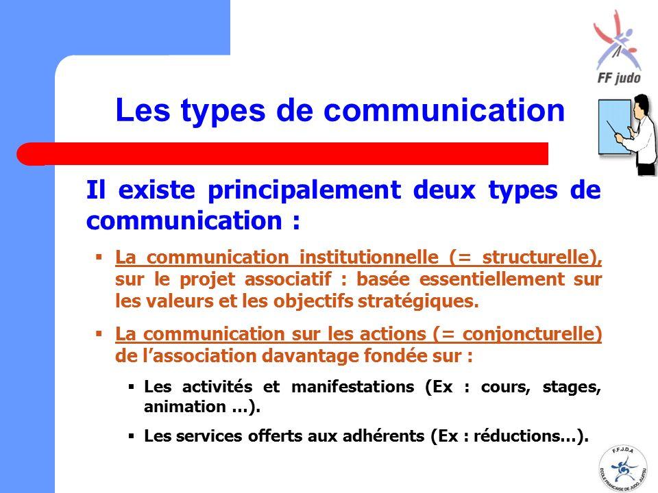 Les types de communication Il existe principalement deux types de communication :  La communication institutionnelle (= structurelle), sur le projet