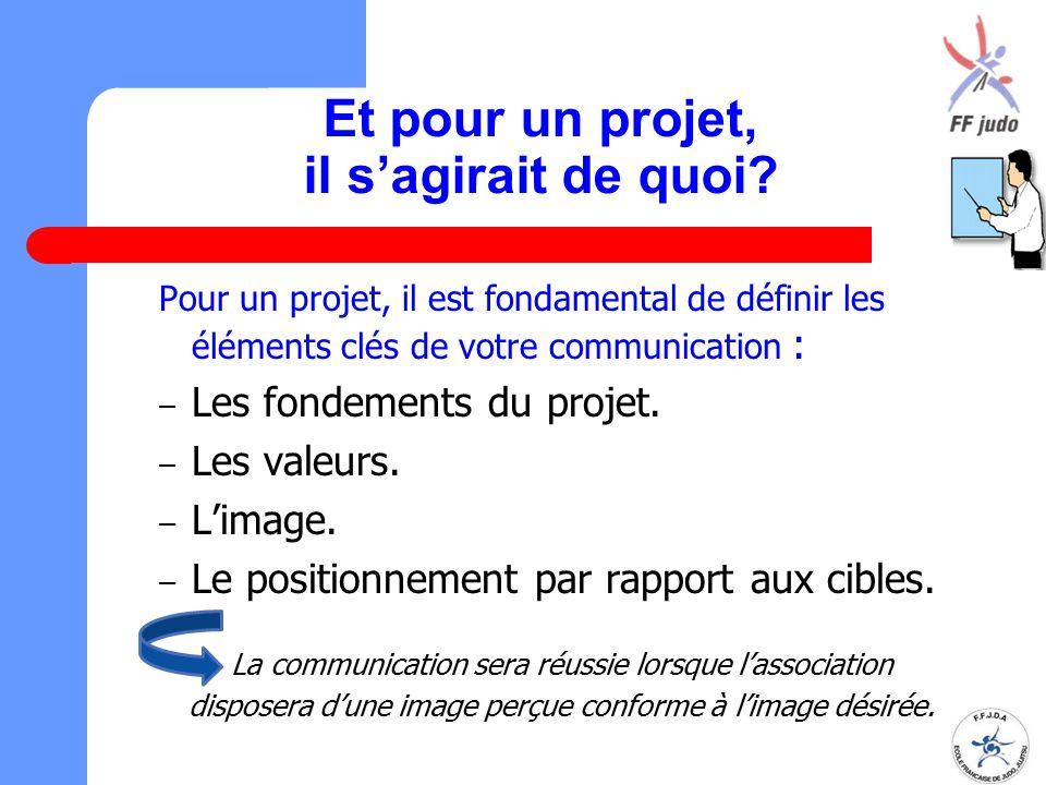 Et pour un projet, il s'agirait de quoi? Pour un projet, il est fondamental de définir les éléments clés de votre communication : – Les fondements du