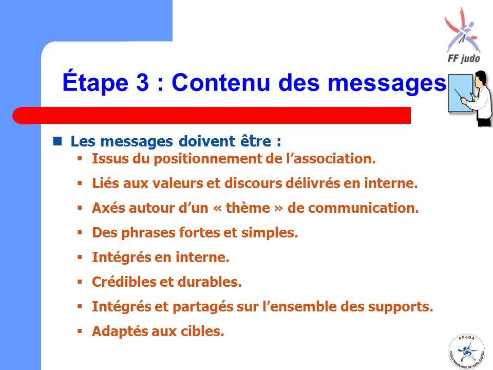 Étape 3 : Contenu des messages Les messages doivent ê t re :  Issus du positionnement de l'association.  Liés aux valeurs et discours délivrés en in