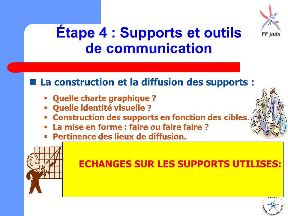 Étape 4 : Supports et outils de communication La construction et la diffusion des supports :  Quelle charte graphique ?  Quelle identité visuelle ?