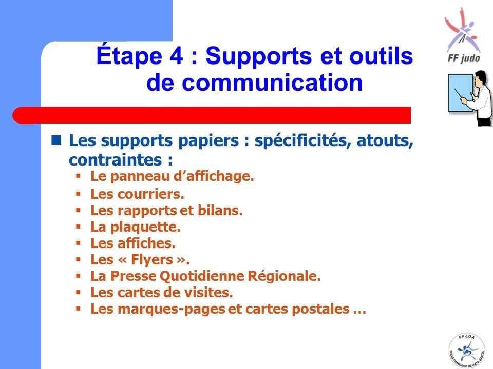 Étape 4 : Supports et outils de communication Les supports papiers : spécificités, atouts, contraintes :  Le panneau d'affichage.  Les courriers. 
