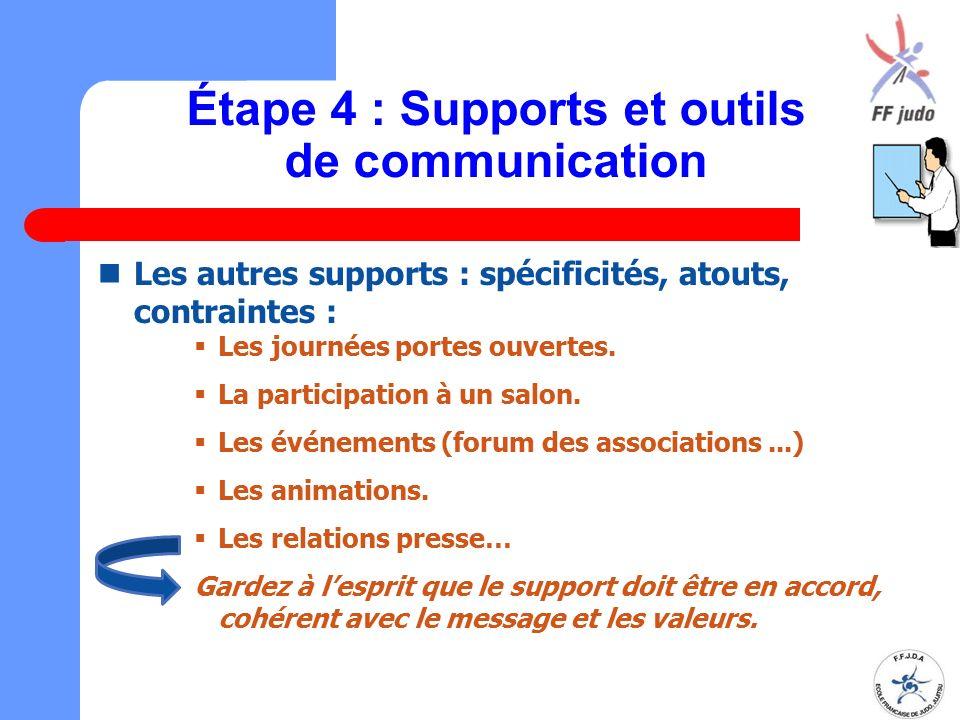 Étape 4 : Supports et outils de communication Les autres supports : spécificités, atouts, contraintes :  Les journées portes ouvertes.  La participa
