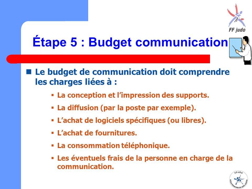 Étape 5 : Budget communication Le budget de communication doit comprendre les charges liées à :  La conception et l'impression des supports.  La dif