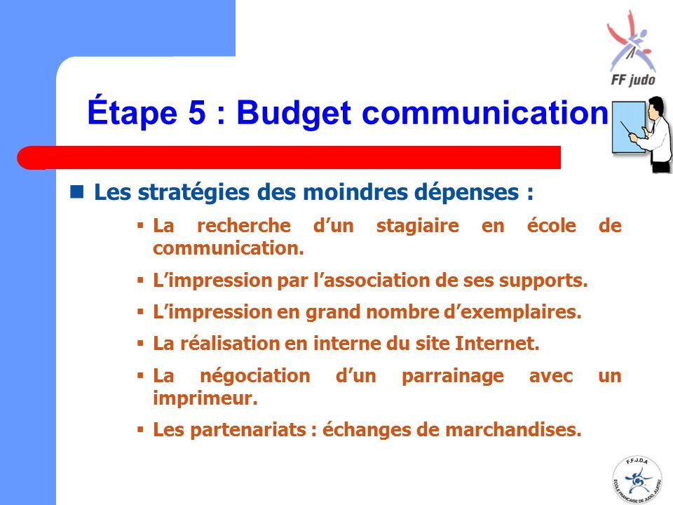 Étape 5 : Budget communication Les stratégies des moindres dépenses :  La recherche d'un stagiaire en école de communication.  L'impression par l'as