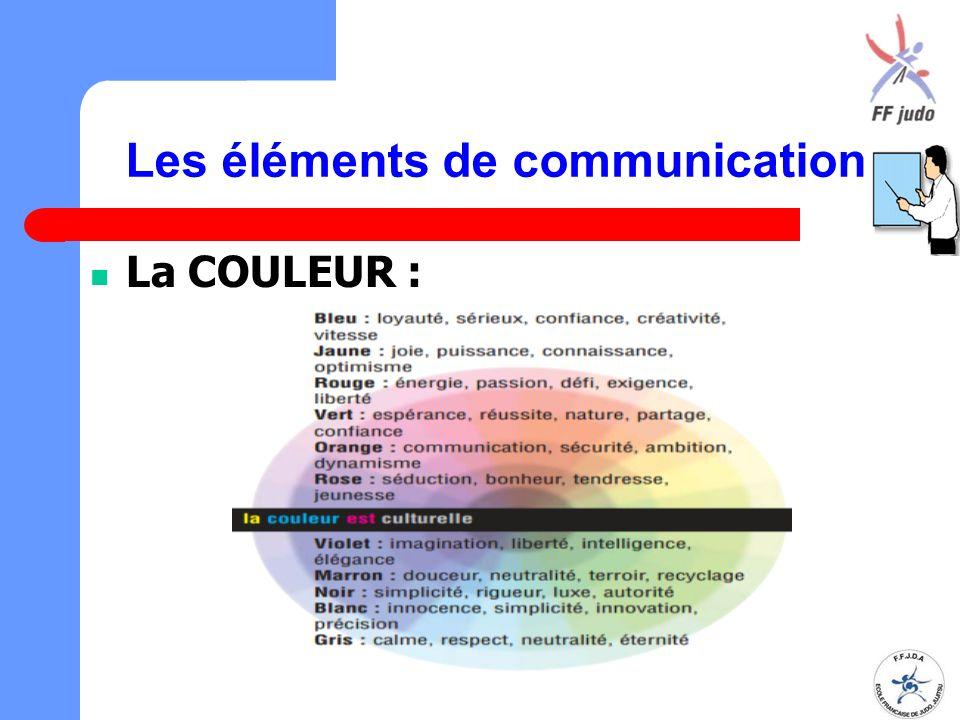 Les éléments de communication La COULEUR :