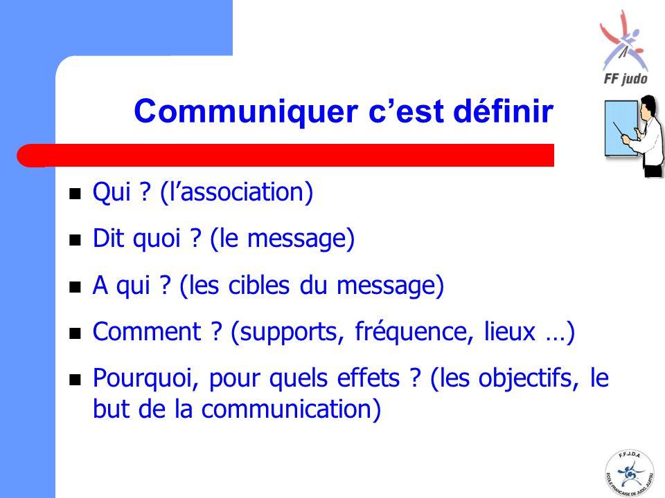 Communiquer c'est définir Qui ? (l'association) Dit quoi ? (le message) A qui ? (les cibles du message) Comment ? (supports, fréquence, lieux …) Pourq