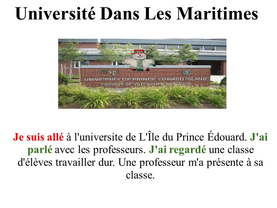 Je suis allé à l universite de L Île du Prince Édouard.
