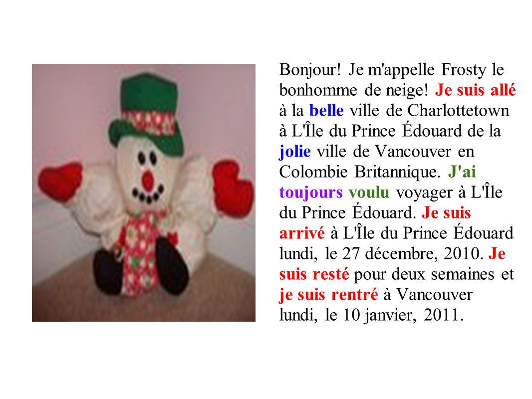 Bonjour.Je m appelle Frosty le bonhomme de neige.