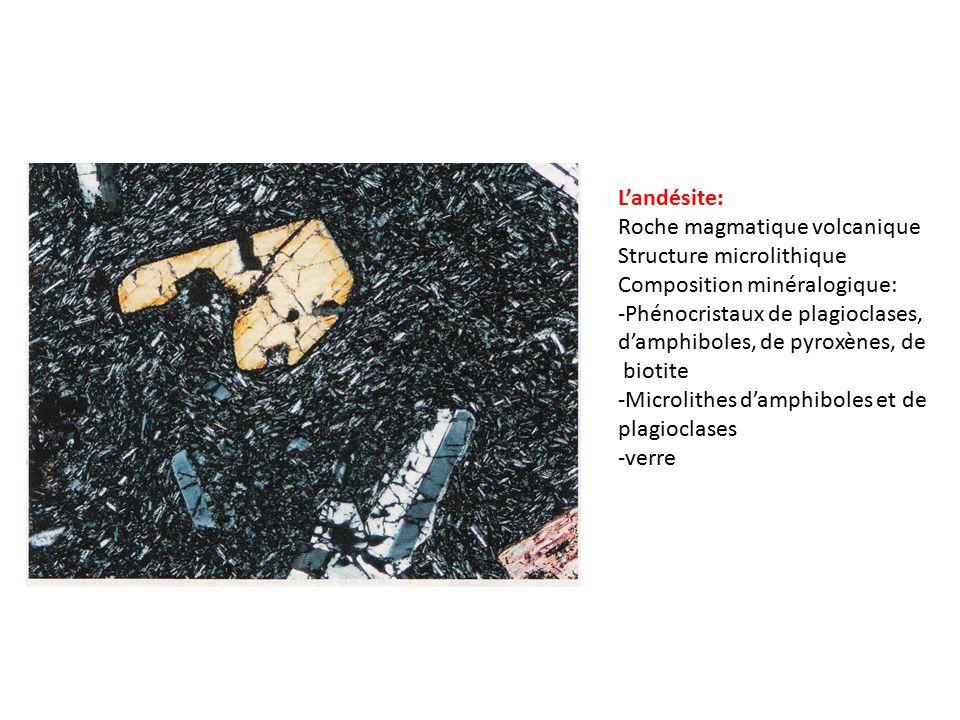 L'andésite: Roche magmatique volcanique Structure microlithique Composition minéralogique: -Phénocristaux de plagioclases, d'amphiboles, de pyroxènes, de biotite -Microlithes d'amphiboles et de plagioclases -verre