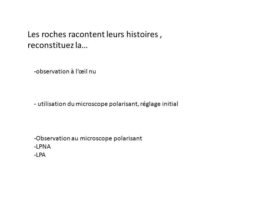 - utilisation du microscope polarisant, réglage initial -observation à l'œil nu -Observation au microscope polarisant -LPNA -LPA Les roches racontent leurs histoires, reconstituez la…