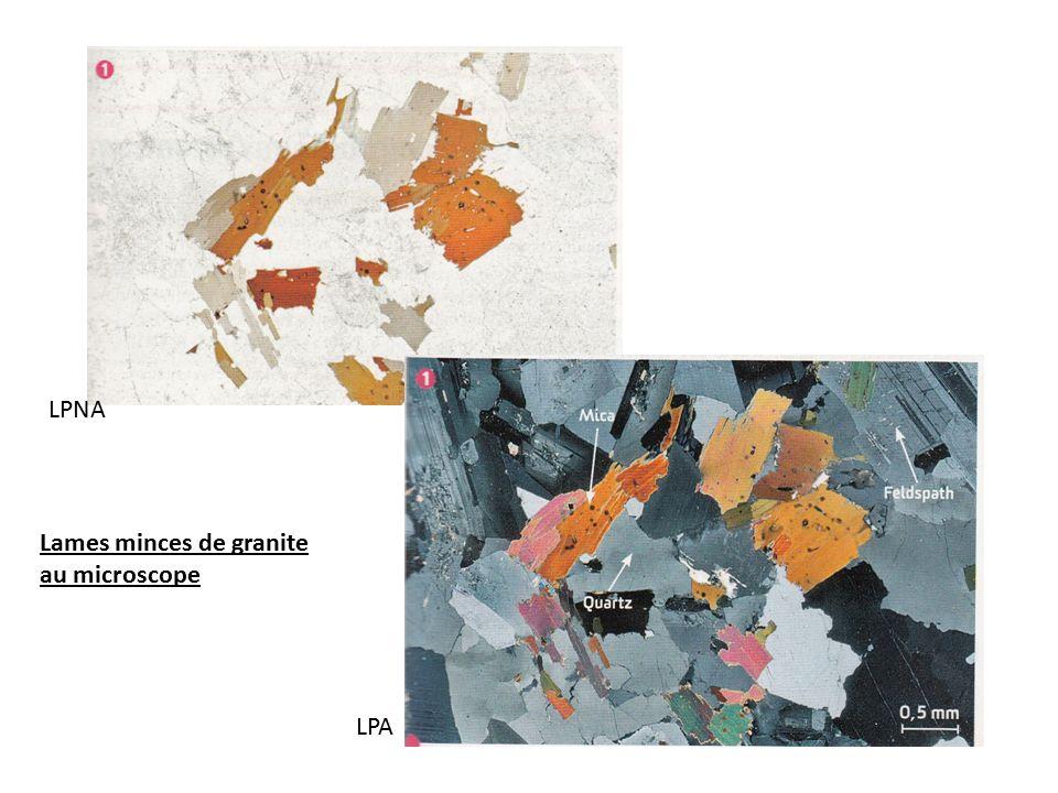 Lames minces de granite au microscope LPNA LPA