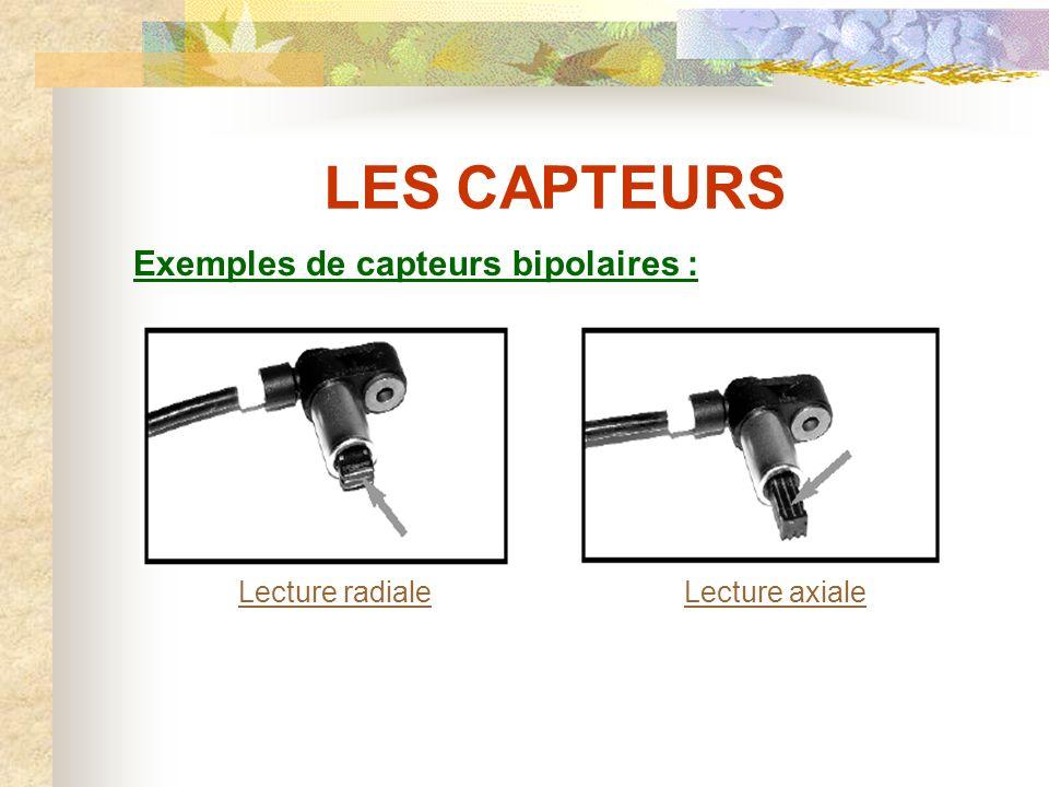 LES CAPTEURS Caractéristiques électriques d un capteur bipolaire pour ABS TEVES MK20EI : - Résistance du bobinage : 1100  ± 50% - Le seuil minimum de vitesse détectée est de 2,75 km/h => 150 mV crête/crête.