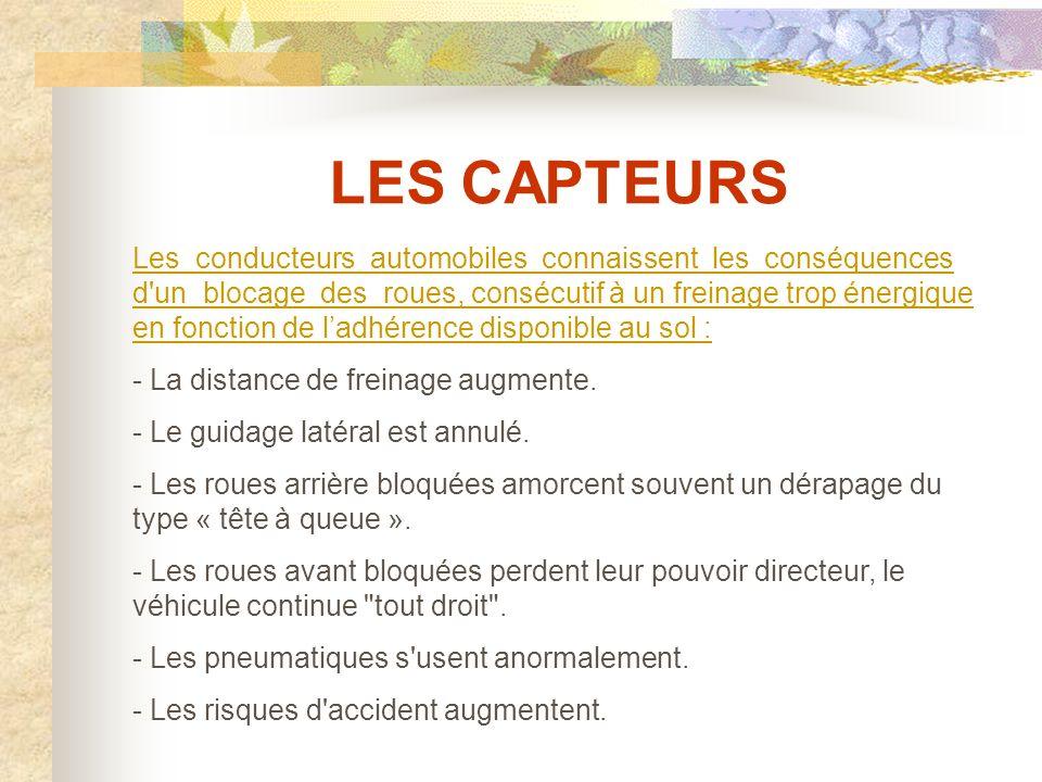 LES CAPTEURS CONSEQUENCES D UN BLOCAGE DES ROUES :