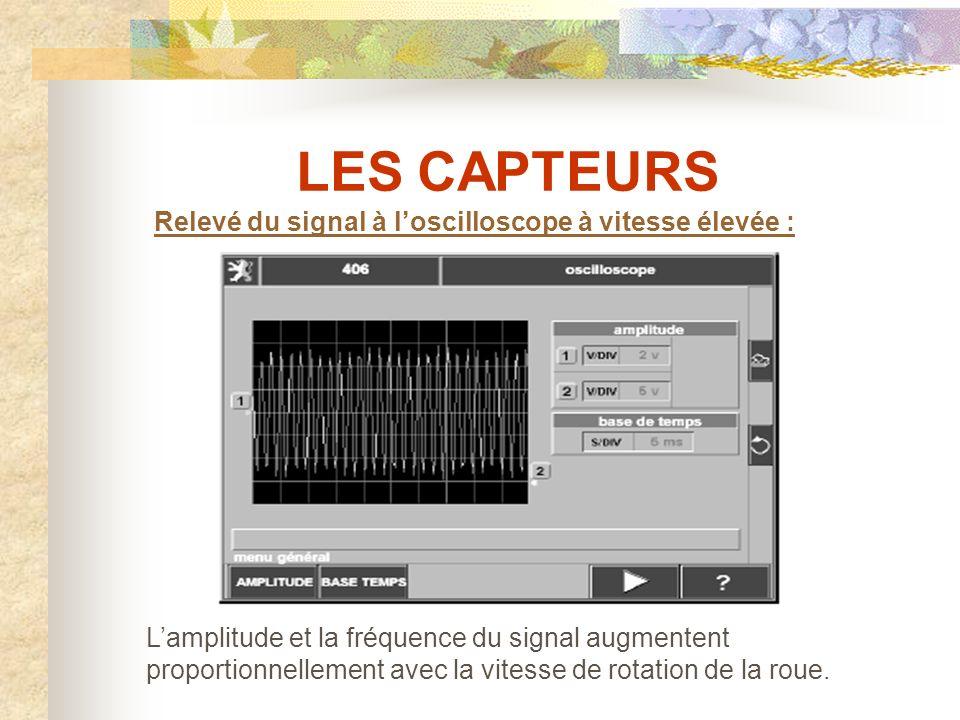 LES CAPTEURS Relevé du signal à l'oscilloscope à basse vitesse :