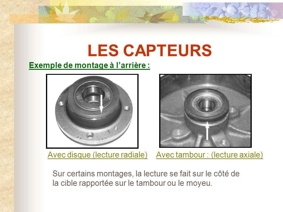 LES CAPTEURS Exemple de montage à l'avant : (lecture radiale) La piste magnétique ou joint codeur se situe du côté des repères de fabrication du roulement de roue.