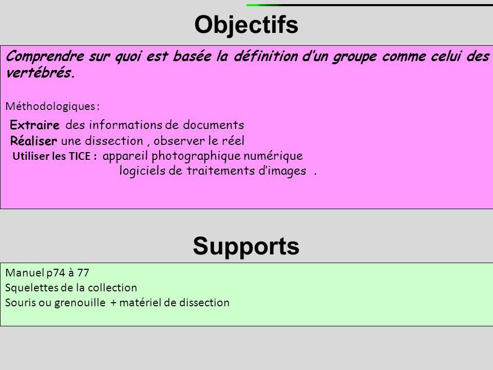 Objectifs Comprendre sur quoi est basée la définition d'un groupe comme celui des vertébrés. Méthodologiques : Extraire des informations de documents