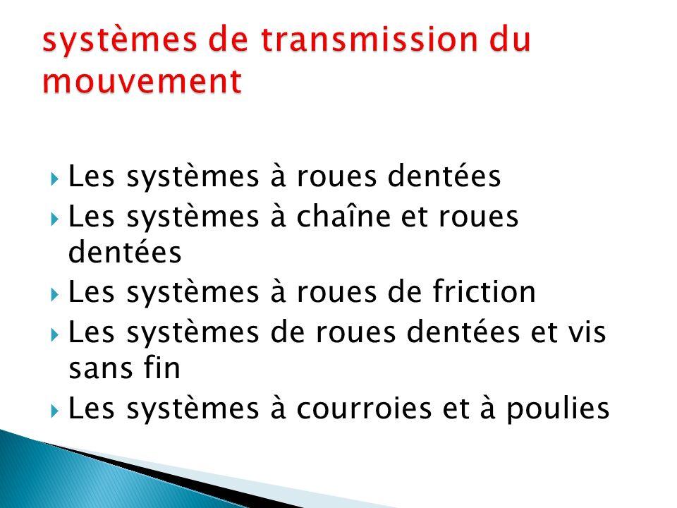  Les systèmes à roues dentées  Les systèmes à chaîne et roues dentées  Les systèmes à roues de friction  Les systèmes de roues dentées et vis sans