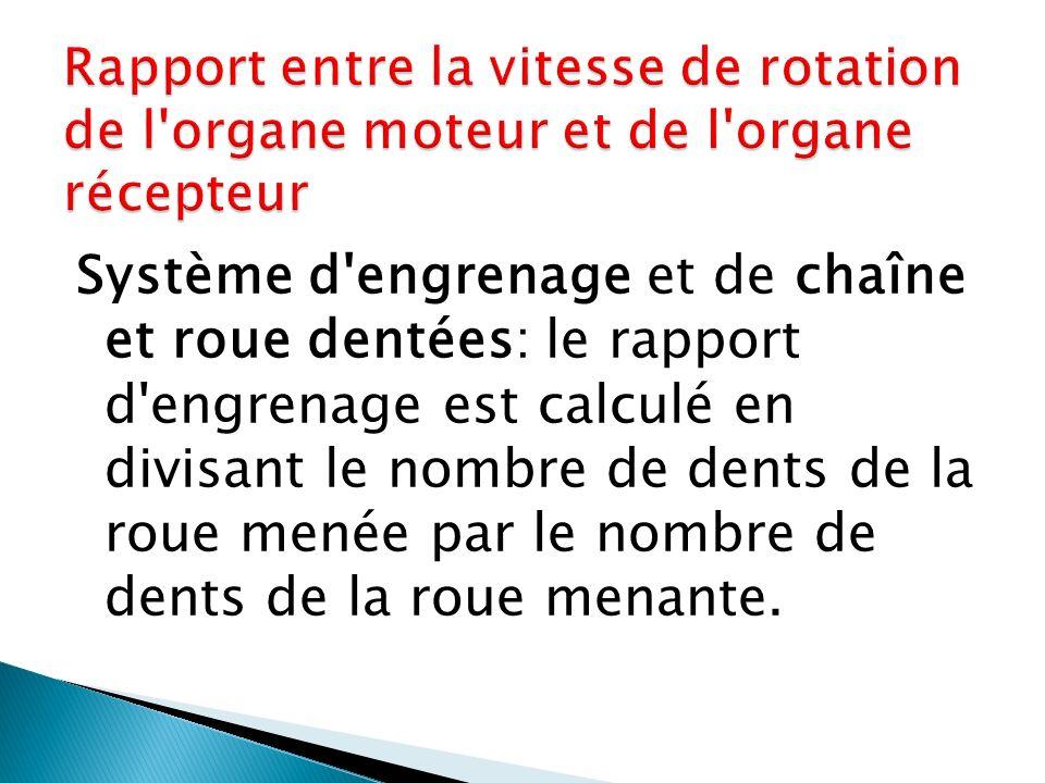 Système d'engrenage et de chaîne et roue dentées: le rapport d'engrenage est calculé en divisant le nombre de dents de la roue menée par le nombre de