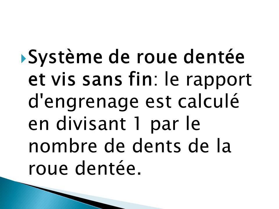  Système de roue dentée et vis sans fin: le rapport d'engrenage est calculé en divisant 1 par le nombre de dents de la roue dentée.