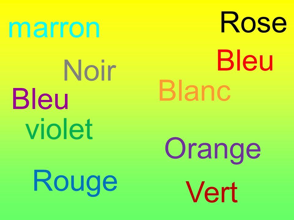 Rose marron Bleu violet Blanc Vert Orange Noir Rouge