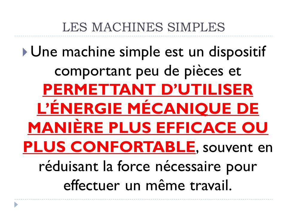  Une machine simple est un dispositif comportant peu de pièces et PERMETTANT D'UTILISER L'ÉNERGIE MÉCANIQUE DE MANIÈRE PLUS EFFICACE OU PLUS CONFORTA