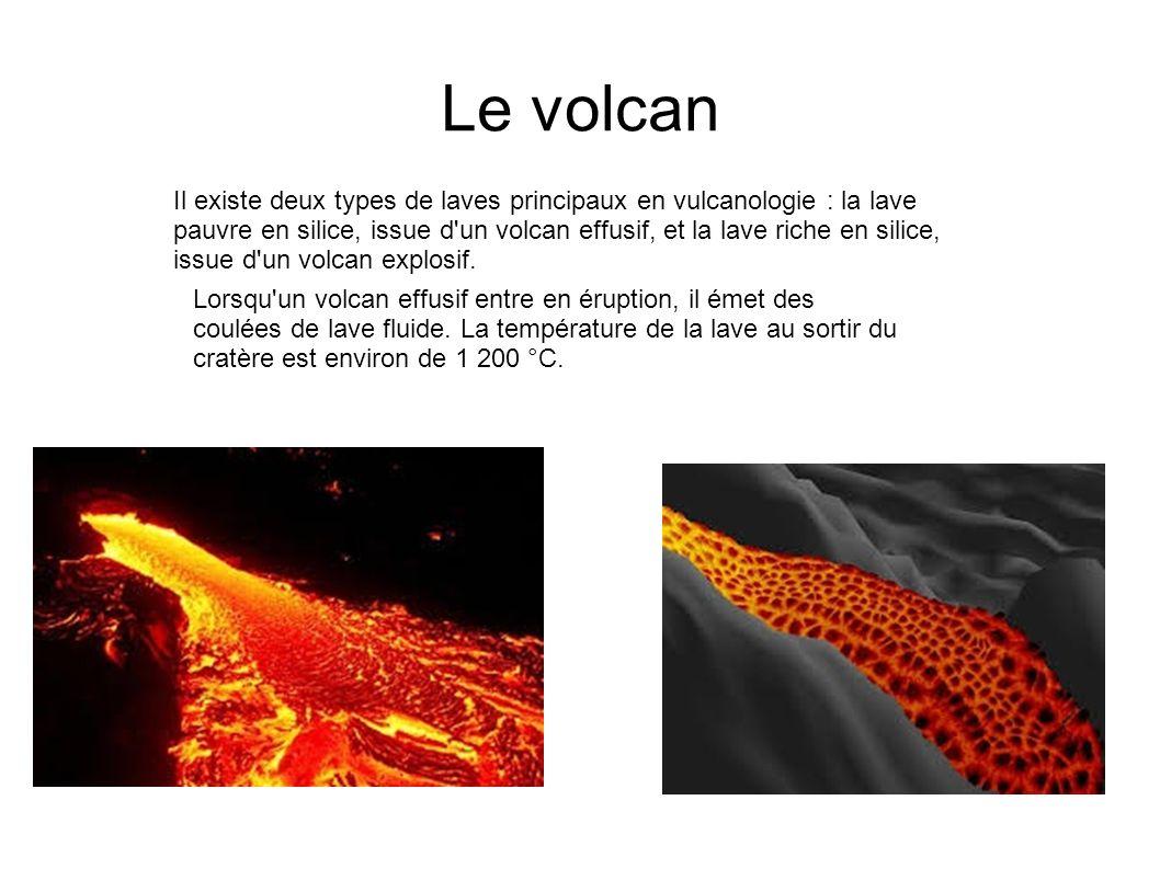 Le volcan Cette lave basaltique coule à environ 20 km/h en sortant du cratère et se refroidit lentement au contact de l air, du sol ou de l eau, perdant de la vitesse.